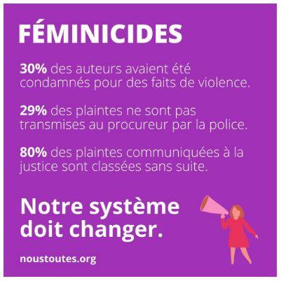 Visuel contenant des chiffres sur les féminicides