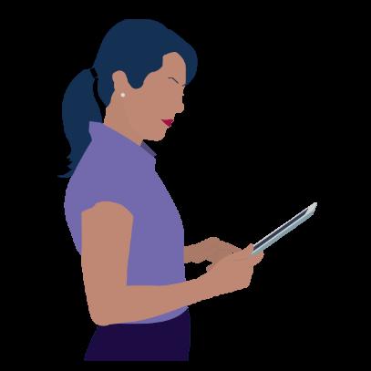Femme blanche elegante tablette