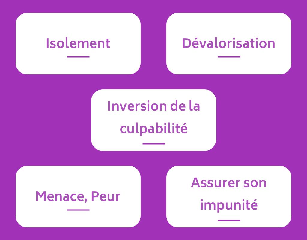 Mécanismes des violences : isolement, dévalorisation, inversion de la culpabilité, menace, peur, assurer son impunité